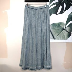 Flax Linen Embroidered Maxi Skirt Chambray Color